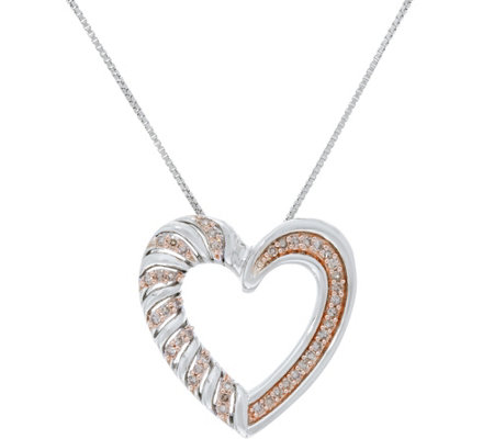 Color Diamond Heart Pendant on Chain, Sterl, 1/4 cttw by Affinity