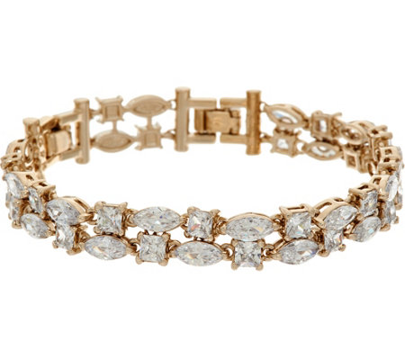 Grace Kelly Collection Simulated 2 Row Diamond Tennis Bracelet