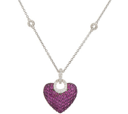 Judith Ripka Sterling Silver Rhodolite Pave Heart Enhancer with Chain