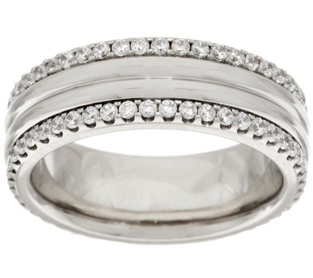 """As Is"" Stainless Steel Crystal Border Polished Ring"