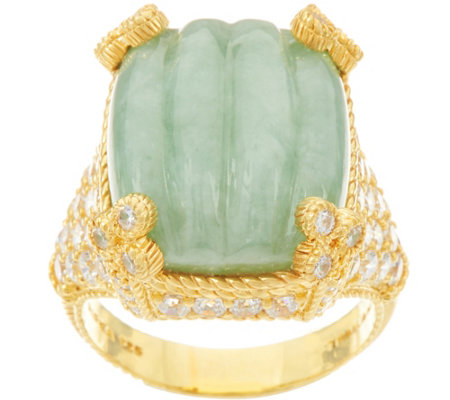 Judith Ripka Sterling & 14K Clad Carved Jade Monaco Ring