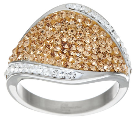 """As Is"" Stainless Steel Pave' Style Crystal Ring"