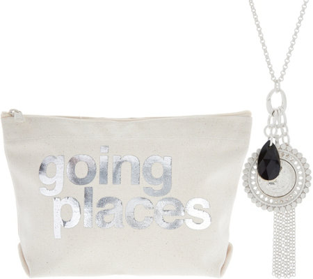 Dogeared Bon Voyage Cluster Necklace and Pouch