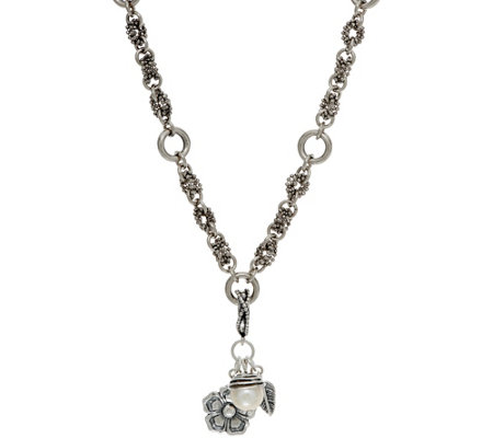 """As Is"" Sterling Pearl & Flower Charm 18"" Necklace by Or Paz"
