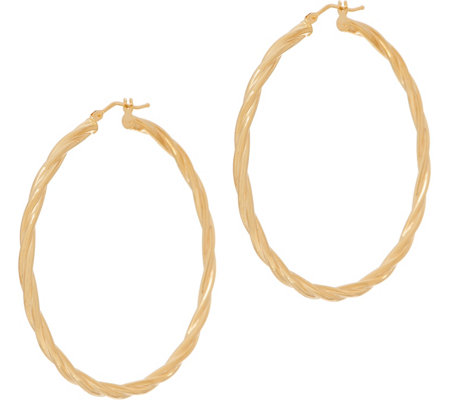 "Italian Gold 2"" Round Twisted Hoop Earrings 14K Gold"