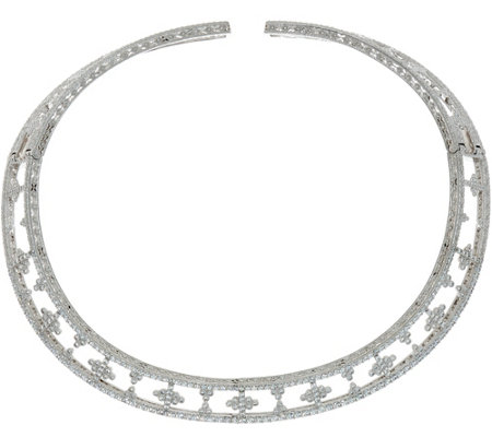 """As Is"" Judith Ripka Sterling Silver 7.50 cttw Diamonique Collar Necklace"
