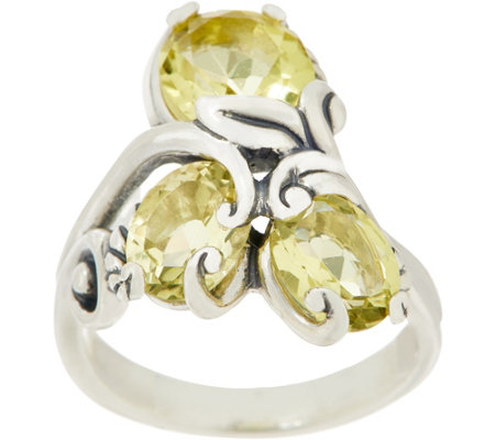 Carolyn Pollack Sterling Silver Capri 4.50cttw Limon Quartz Cluster Ring