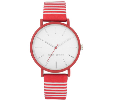 Nine West Women's Red & White Striped Watch