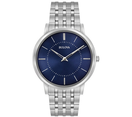 Bulova Men's Stainless Steel Blue Ultra-Slim Bracelet Watch