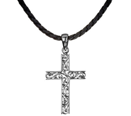 Or Paz Sterling Silver Filigree Cross Pendant with Cord