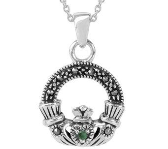Suspicion Sterling Marcasite Claddagh Pendant w/ Chain - J385129