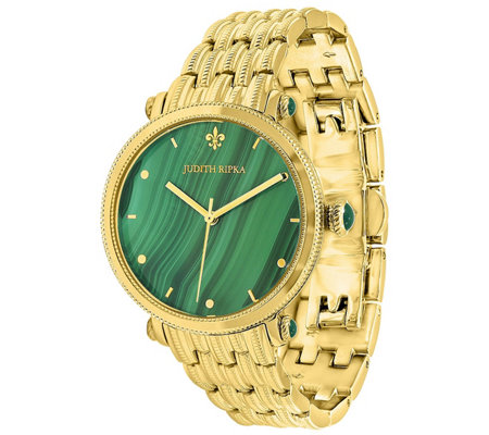 Judith Ripka Goldtone Stainless Malachite LinkWatch