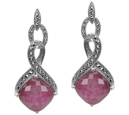 Suspicion Sterling Marcasite Ruby Doublet Earrings