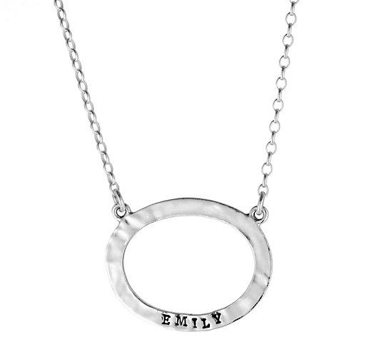 Or Paz Sterling Personalized Open Oval Name N ecklace