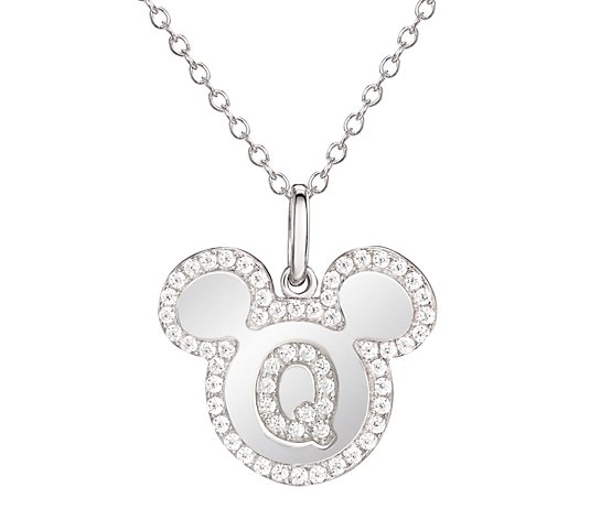 "Mickey Mouse Sterling Silver Initial Pendantw/ 18"" Chain"