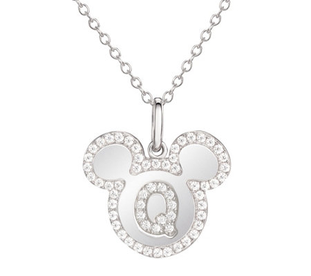 Mickey Mouse Sterling Silver Initial Pendant with Chain