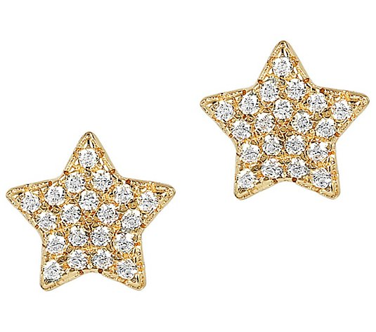 14k Gold Over Sterling Silver Star Stud Womens Fashion Earrings