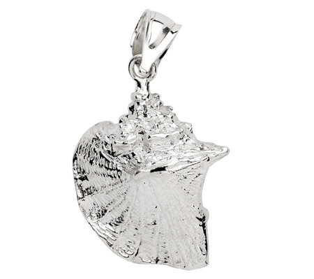 Sterling 3-D Conch Shell Pendant
