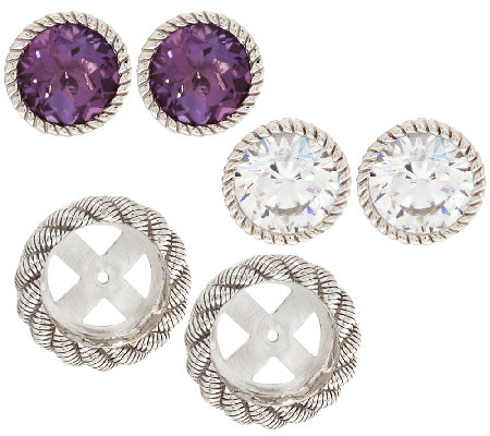 Judith Ripka Sterling 2 Sets of Stud Earrings with Jacket Set