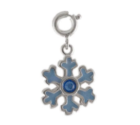 Sterling Snowflake Charm with Enamel and Crystal Accent