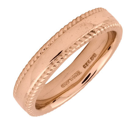 Simply Stacks Sterling 18k Rose Gold Plated 4 25mm Ribbed Ring