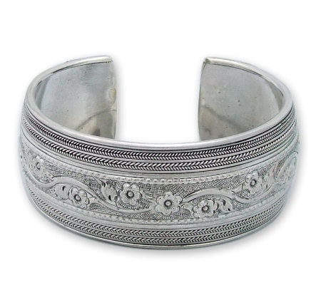 "Novica Artisan Crafted Sterling ""Floral Imagination"" Cuff"