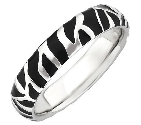 Simply Stacks Sterling Black Epoxy Enamel Animal Print Ring
