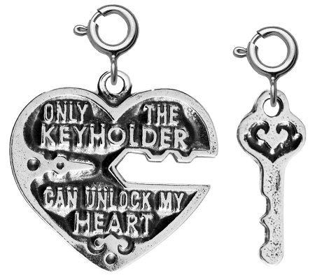 Sterling Set of 2 Heart & Key Charms