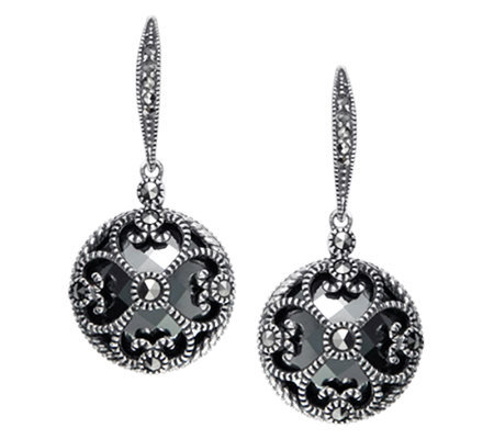 Suspicion Sterling Marcasite & Hematite Round Dangle Earrings