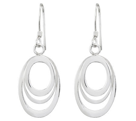 Sterling Polished Cascading Oval Dangle Earrings