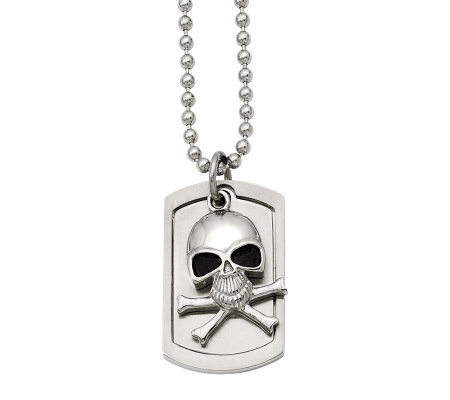 "Forza Men's Stainless Steel Skull Dog Tag Pendant w/ 24"" Chai"