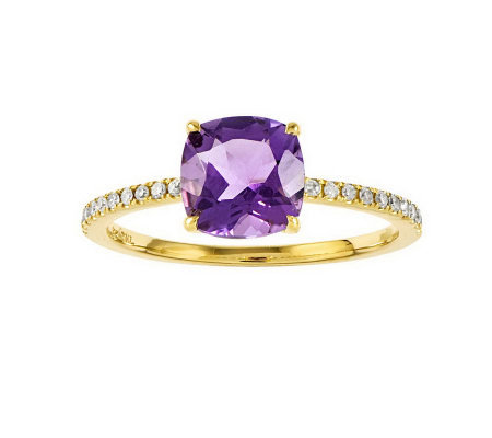 Choice of Cushion-Cut Gemstone & Diamond AccentRing, 14K Gold