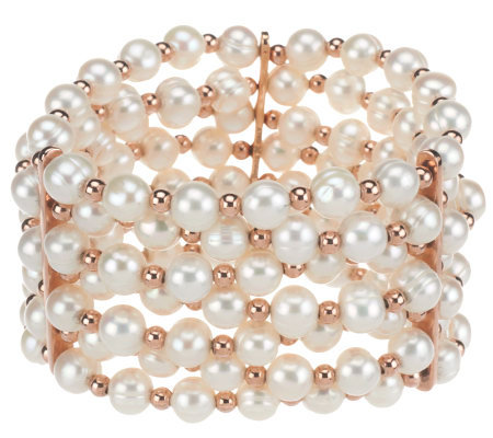"""As Is"" Honora Cultured Pearl 7.0mm Average Bronze Stretch Bracelet"