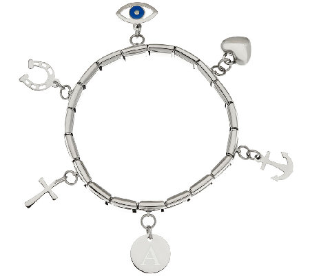 Stainless Steel Initial & Charm Stretch Bracelet