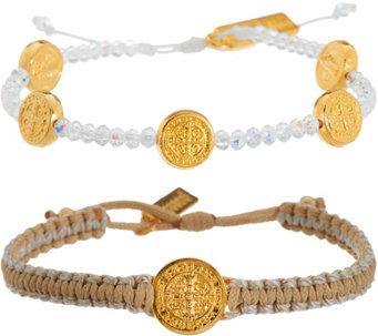 Inspirational jewelry religious necklaces more qvc my saint my hero gratitude blessing bracelets set j347530 mozeypictures Choice Image