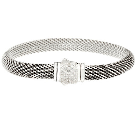 """As Is"" JAI Sterling Silver Mesh Bracelet w/Pave Gemstone Clasp"