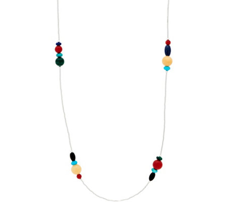 "American West 32"" Sterling Silver Liquid Gemstone Necklace"