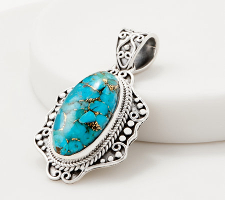 Artisan Crafted Sterling Silver Mojave Turquoise Pendant