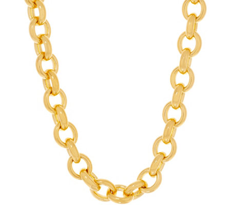 "Oro Nuovo Bold Oval Rolo Link 18"" Necklace 14K"