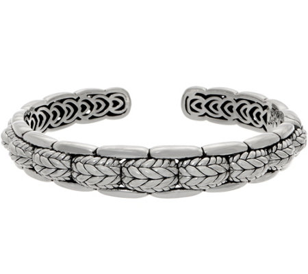 JAI Sterling Silver Basketweave Engraved Cuff, 35.3g