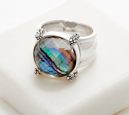 Michael Dawkins Sterling Silver Starry Night & Abalone Ring