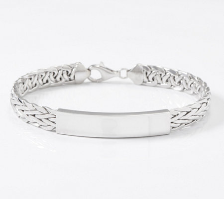 Sterling Silver Wheat Chain ID Station Bracelet, 11.5g by Silver Style