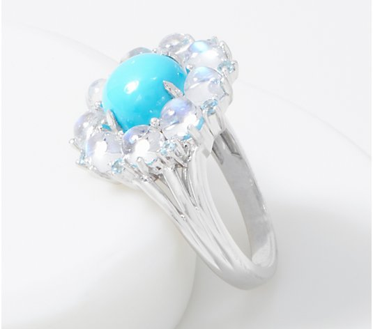 Tuquoise & Moonstone Cluster Ring, Sterling Silver