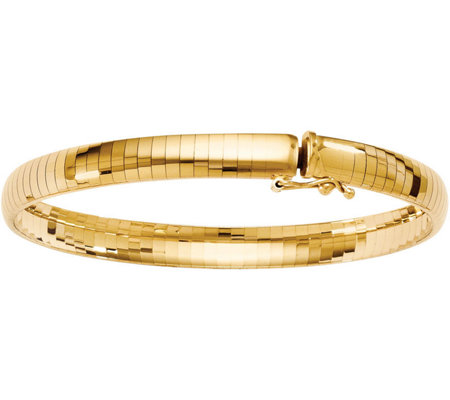 14K 6mm Domed Omega Bracelet, 13.3g