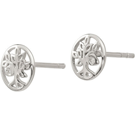 Sterling Diamond Accent Tree Post Earrings