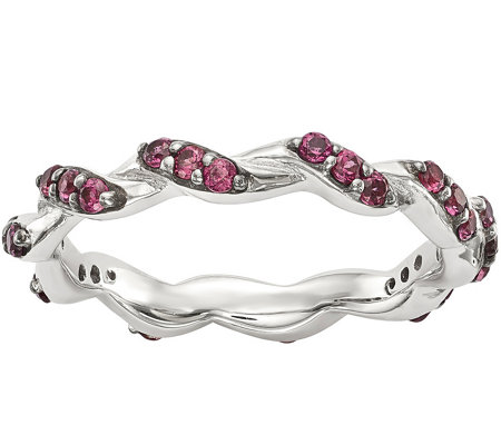 Sterling & Rhodolite Garnet Twisted Eternity Ring