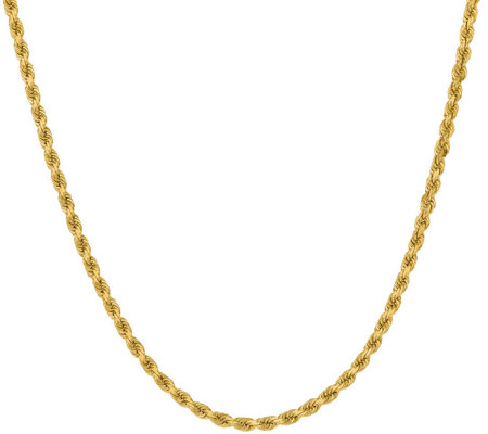 "14K Diamond Cut 22"" Rope Necklace, 28.4g"