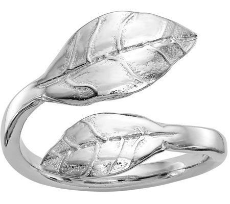 Italian Silver Leaf Bypass Ring, Sterling
