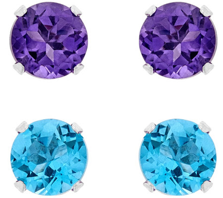 Sterling Silver Round Gemstone Stud Earring Set