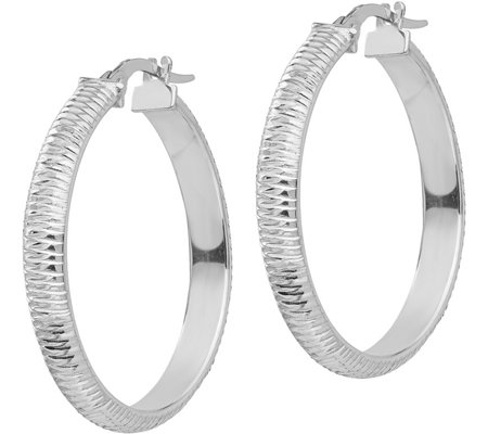 "Italian Gold Diamond-Cut 1-3/8"" Hoop Earrings,14K"
